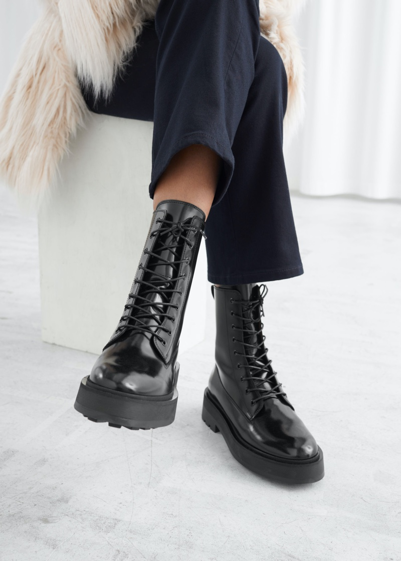 & Other Stories Chunky Leather Lace-up Boots $229