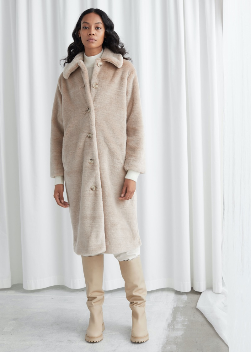 & Other Stories Faux Fur Long Coat $219