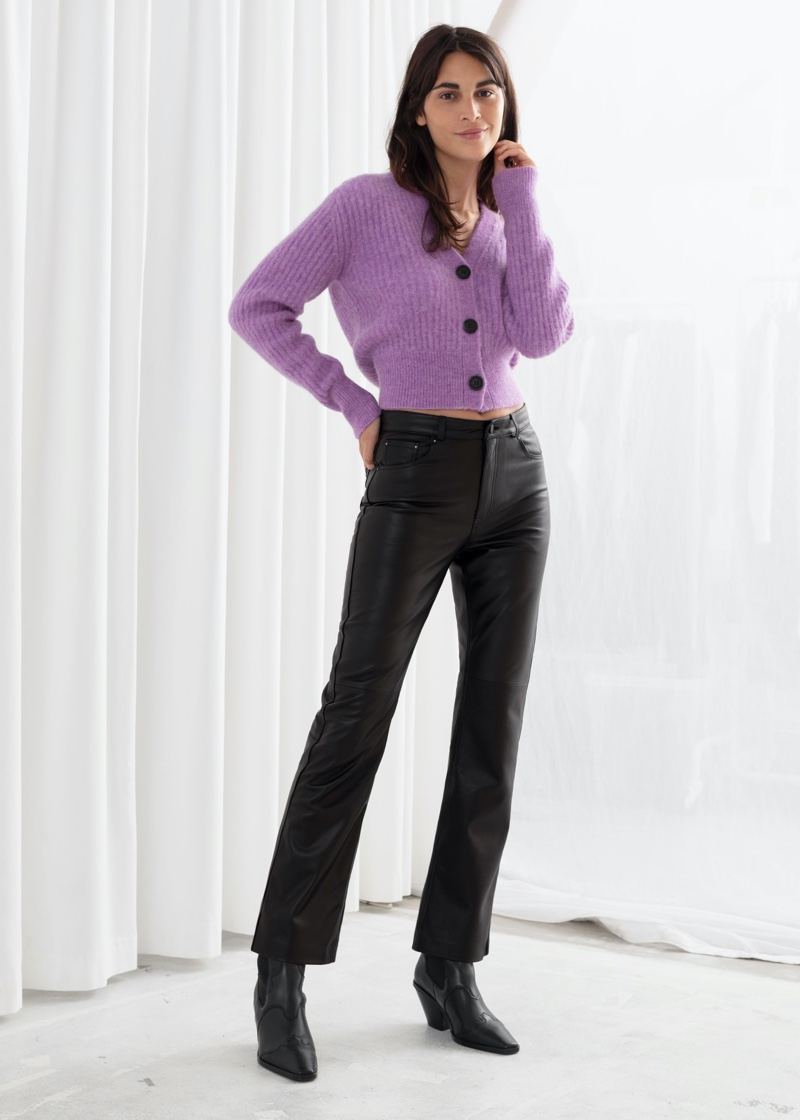 & Other Stories Leather Kick Flare Trousers $379