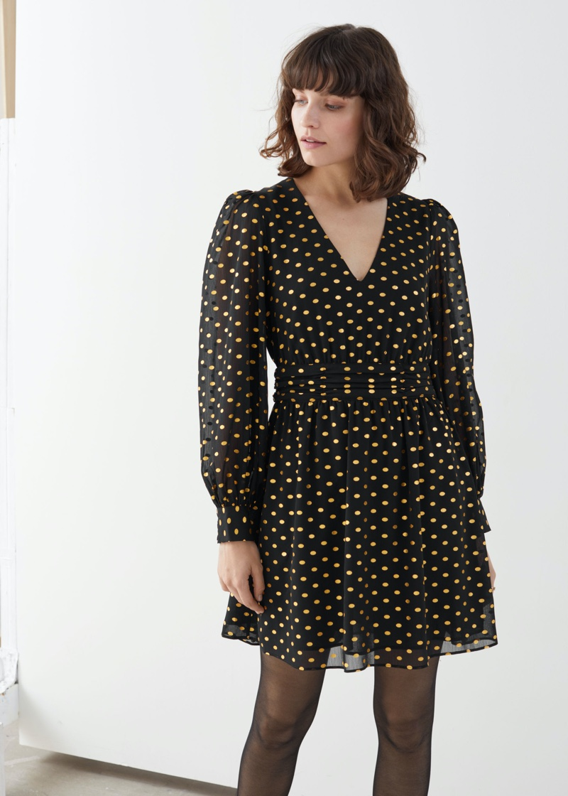 & Other Stories Metallic Dotted Gathered Mini Dress $69