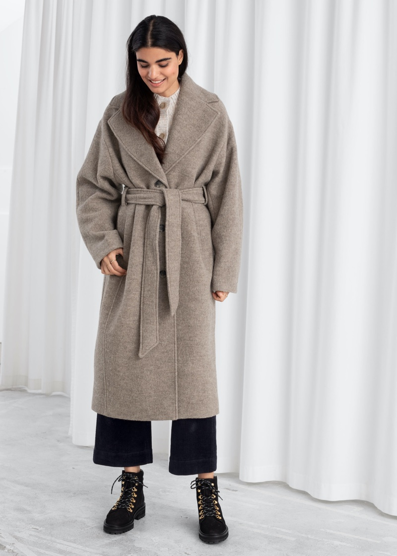 & Other Stories Oversized Belted Wool Coat in Brown $249