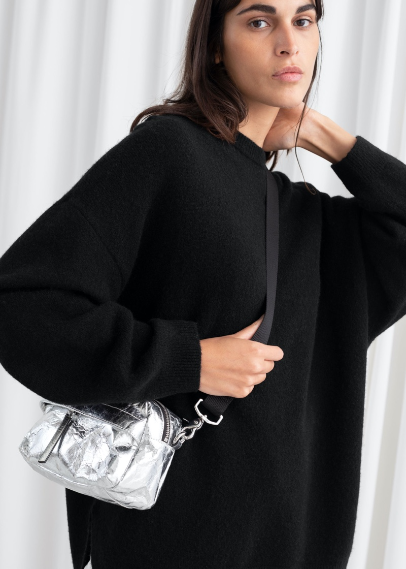 & Other Stories Oversized Wool Blend Sweater in Black $89