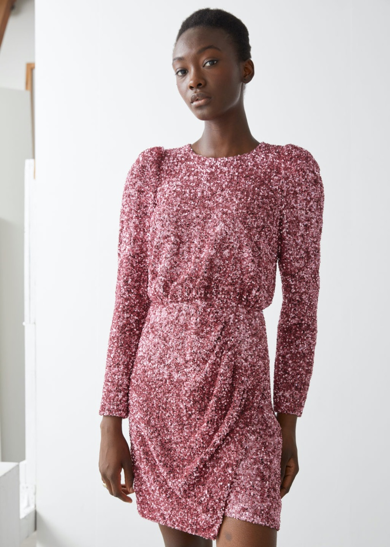& Other Stories Padded Shoulder Sequin Dress in Pink $179