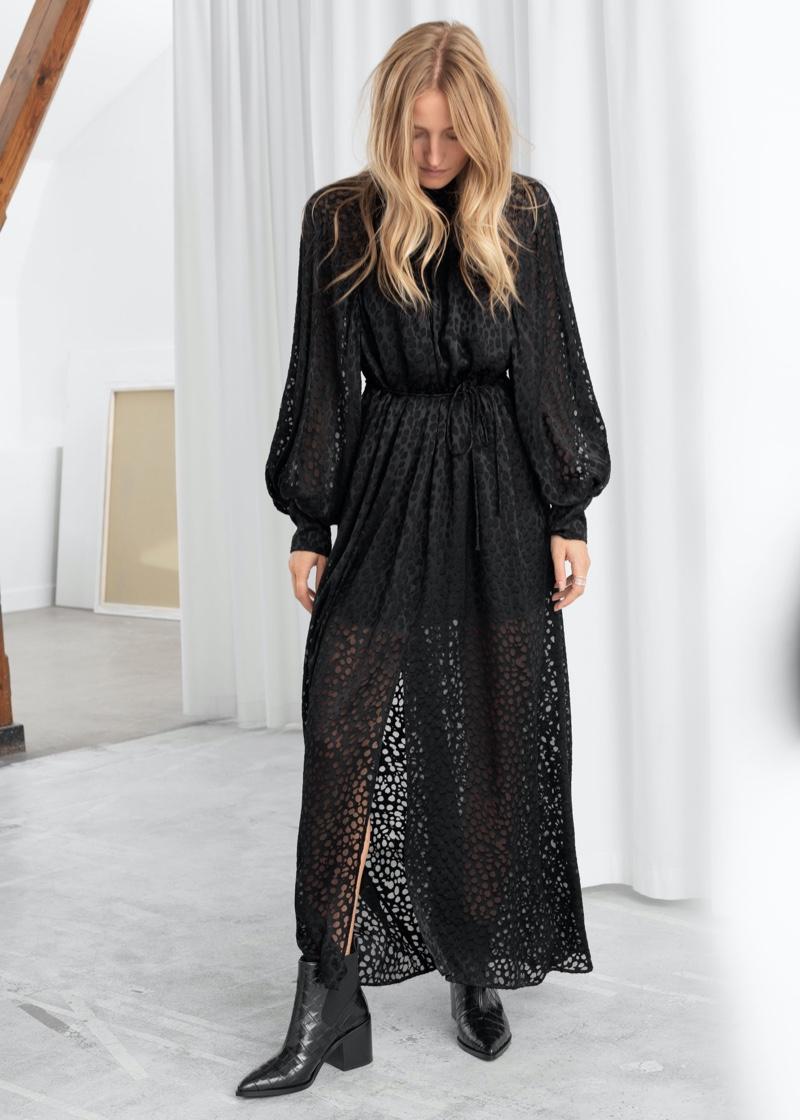 & Other Stories Silk Blend Maxi Leopard Dress $179