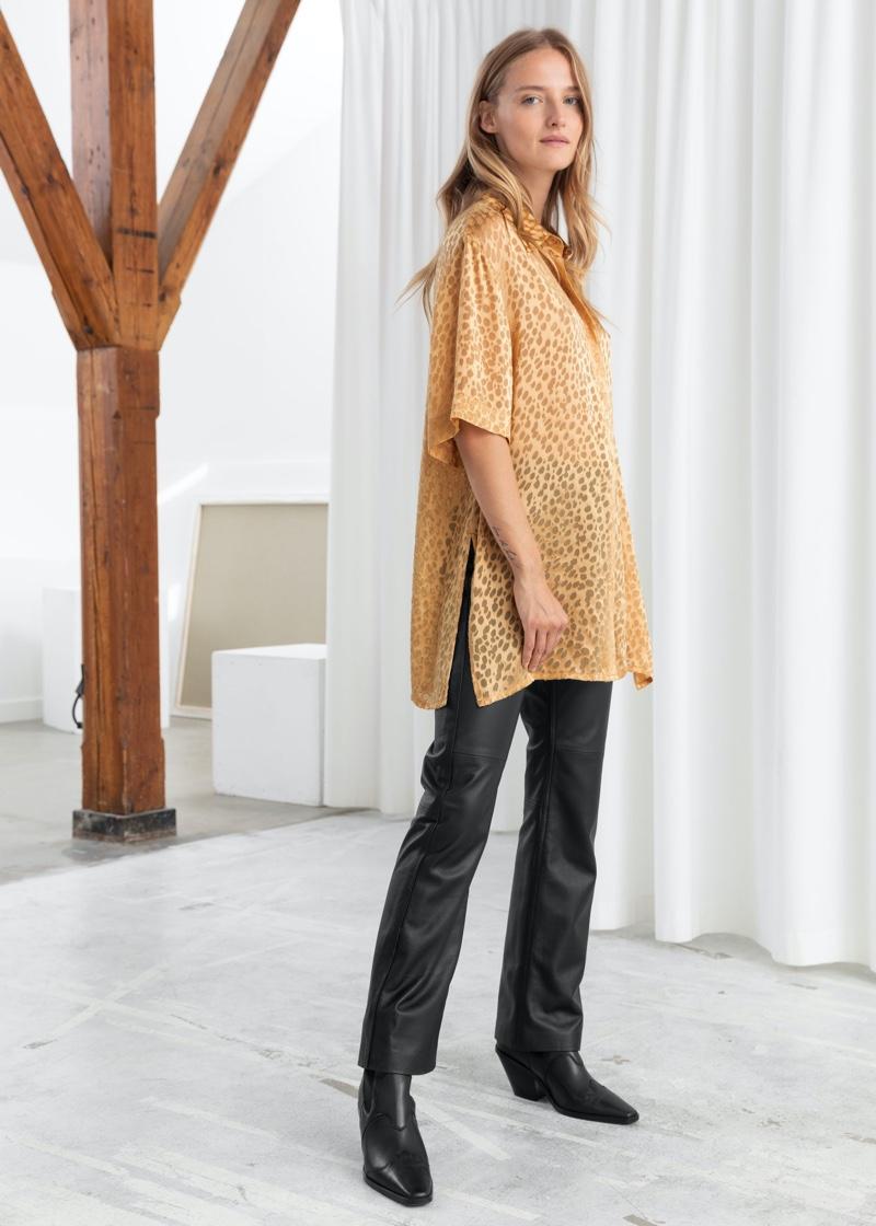 & Other Stories Silk Jacquard Leopard Shirt $119