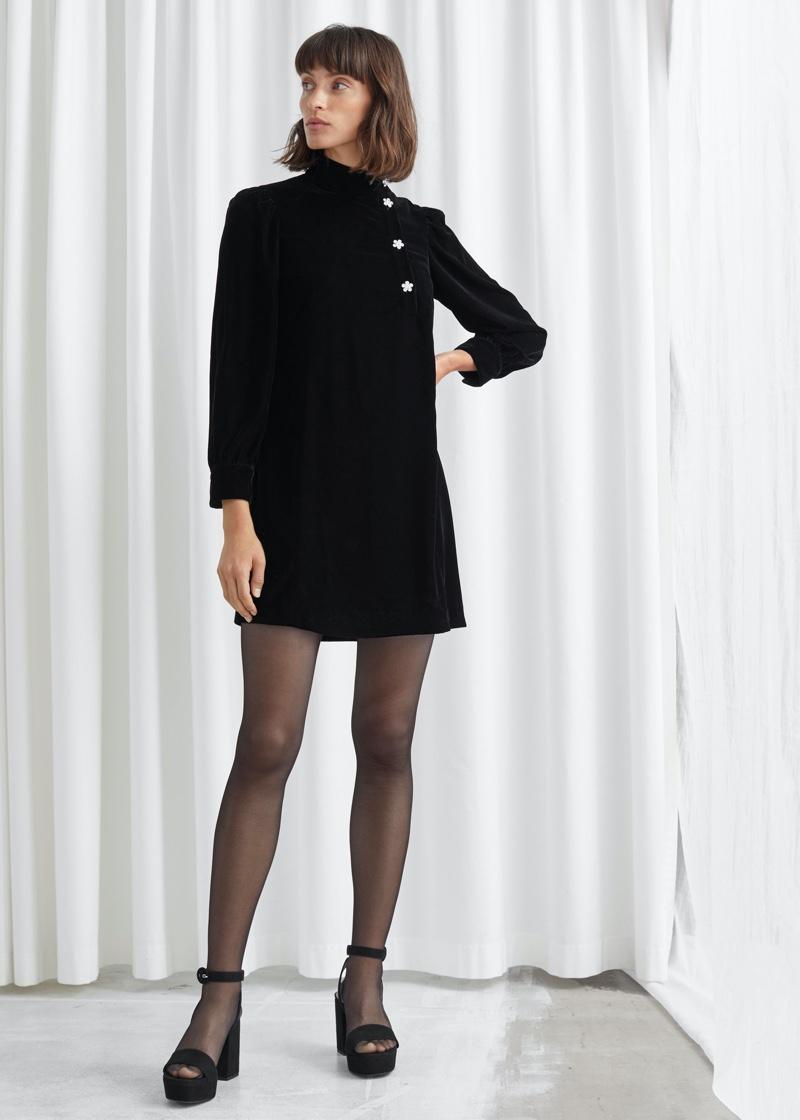 & Other Stories Velvet Floral Crystal Button Mini Dress $119