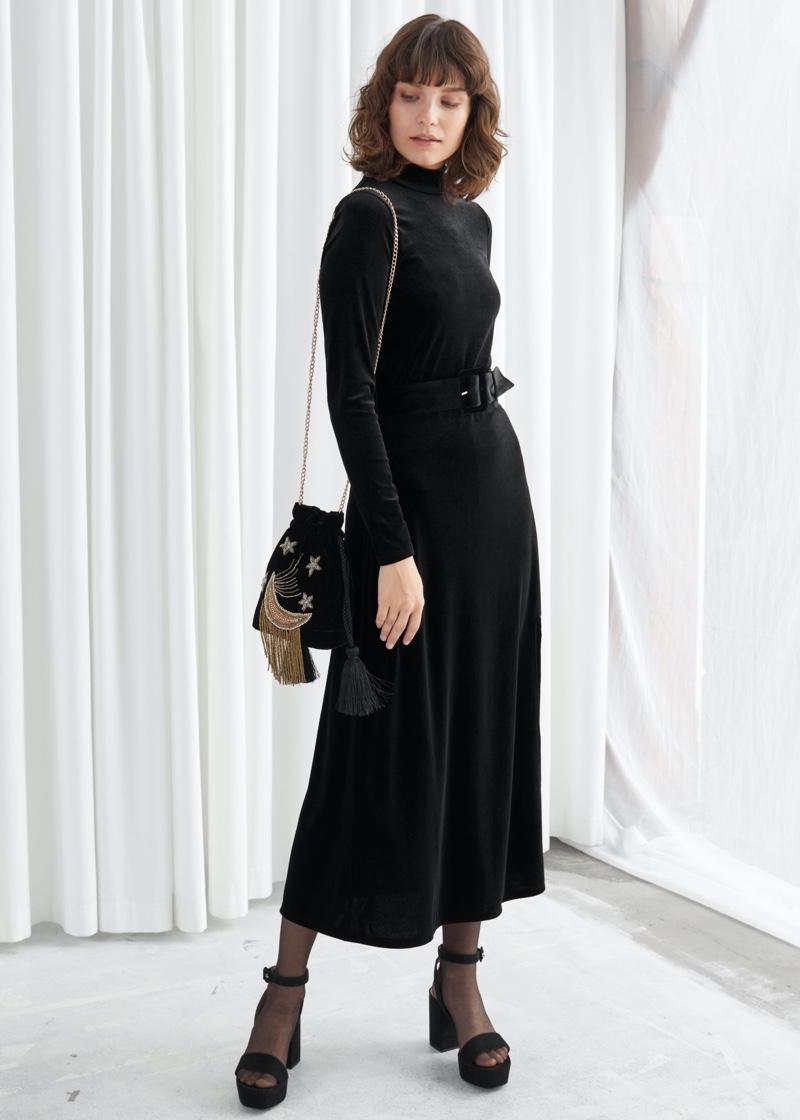 & Other Stories Velvet Side Slit Midi Dress $69