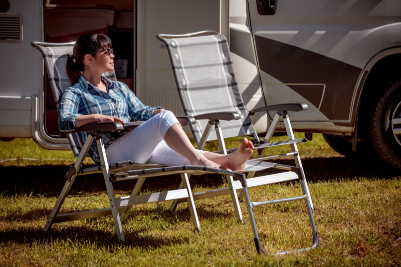 Outdoors Woman RV Chairs Plaid Shirt Relaxing
