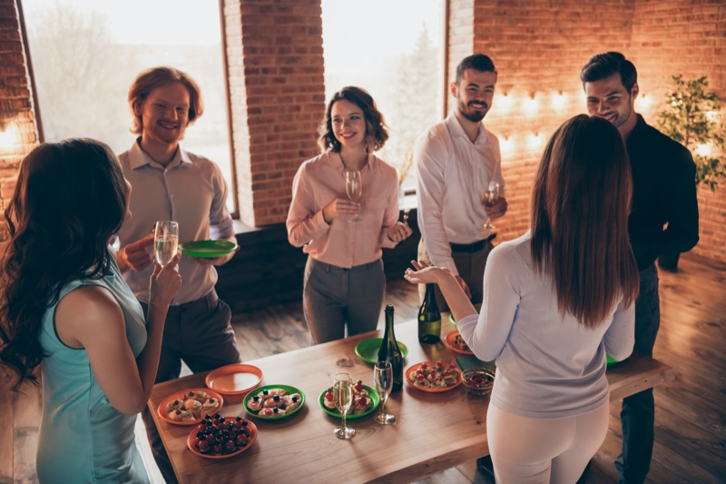 Party People Standing Table Drinks Appetizers