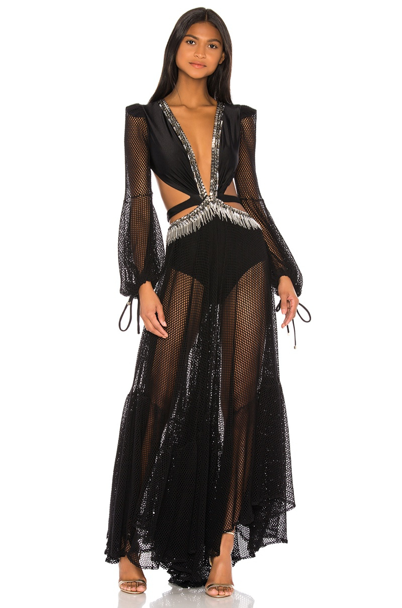 PatBO x REVOLVE Cutout Long Sleeve Gown $925