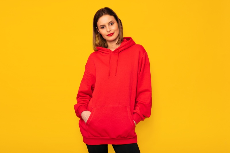 Red Hoodie Model Bob Red Lipstick
