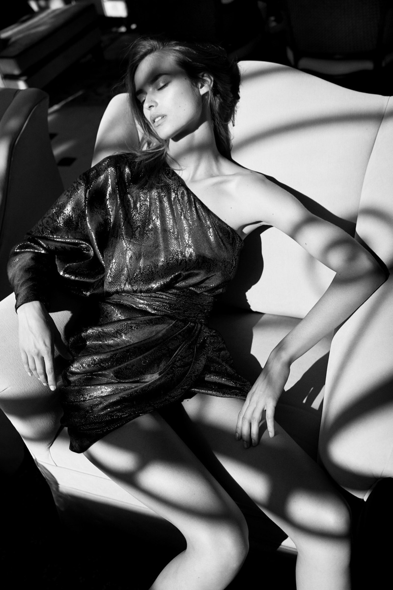 Posing in shadows, Birgit fronts Redemption fall-winter 2019 campaign