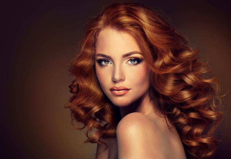 Redhead Model Wavy Long Hair