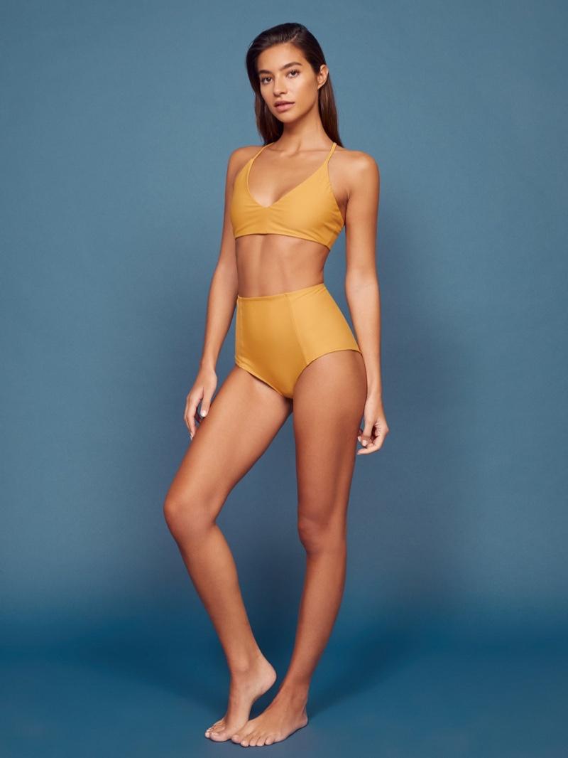 Reformation Antibes Bikini Top $68 & Mandalay Bikini Bottoms in Ochre $68