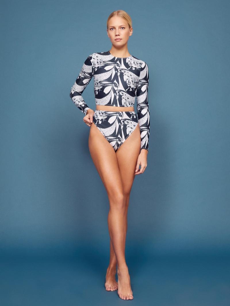 Reformation Brisbane Top $98 & Riviera Bikini Bottom in Navy Persephone $68