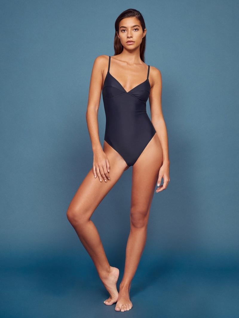 Reformation Montecarlo One Piece Swimsuit in Navy $118