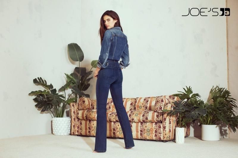 Wearing double denim, Sara Sampaio appears in Joe's Jeans fall-winter 2019 campaign
