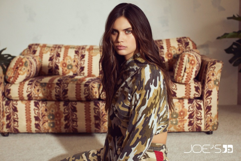 Model Sara Sampaio poses in camouflage prints for Joe's Jeans fall-winter 2019 campaign