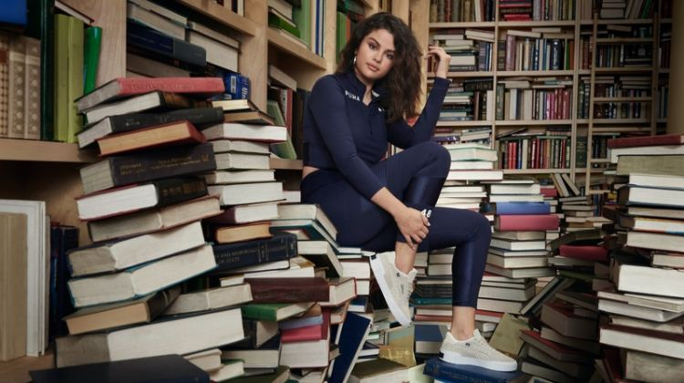 Posing in a library, Selena Gomez fronts SG x PUMA fall-winter 2019 campaign