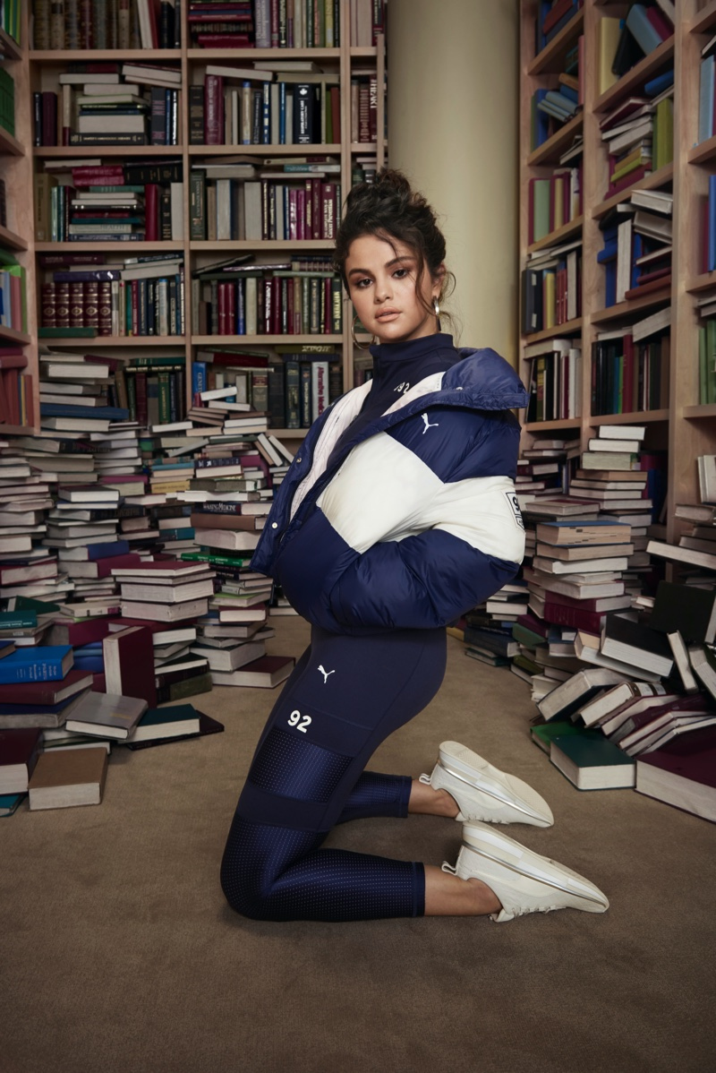 Surrounded by books, Selena Gomez fronts SG x PUMA fall-winter 2019 campaign
