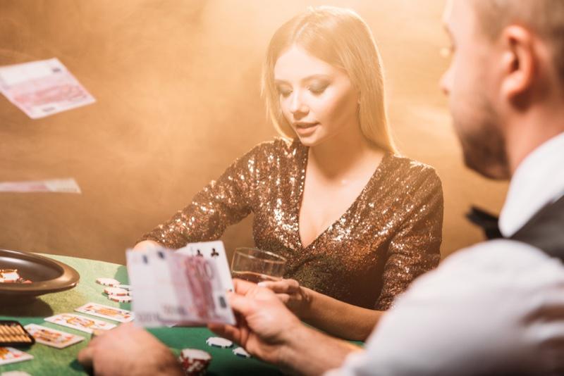 Sequin Dress Model Casino Table Dealer