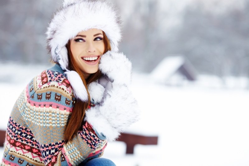 Smiling Model Faux Fur Hat Gloves Sweater Snow Winter