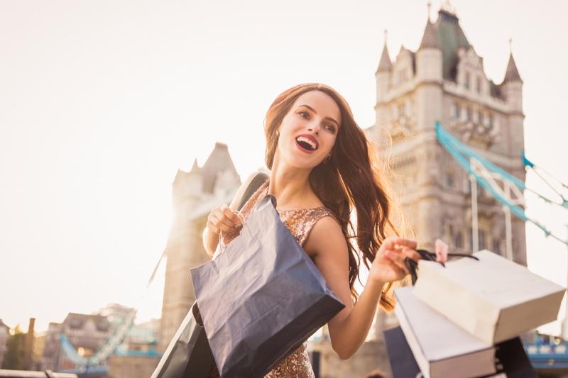 Smiling Woman Shopping Bags London