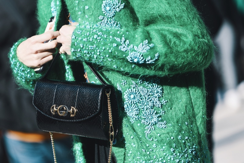 Street Style Gucci Bag Green Cardigan Sweater