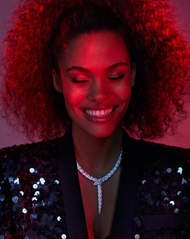 Tina Kunakey Turns Up the Shine Factor for ELLE Russia