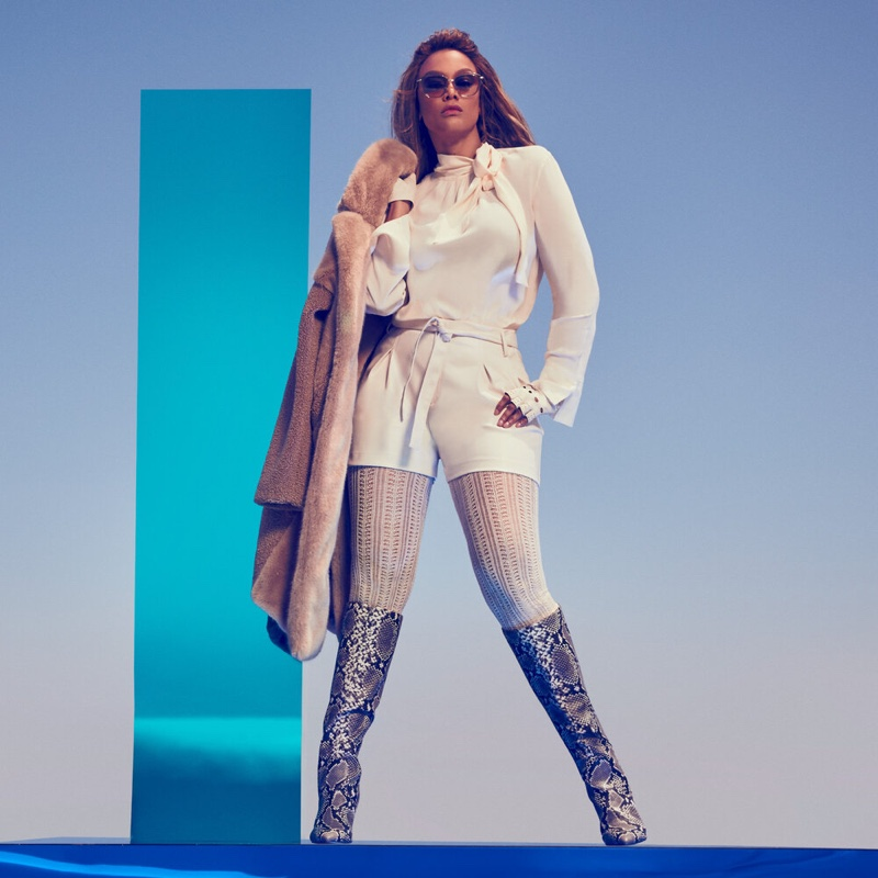 Rocking python boots, Tyra Banks fronts Nine West fall-winter 2019 campaign