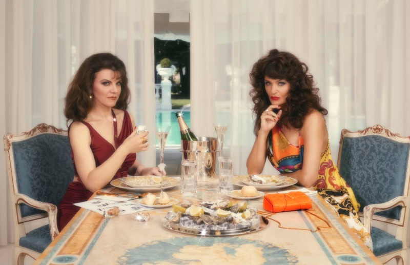 Artist Sarah Baker and supermodel Helena Christensen front Versace Holiday 2019 campaign
