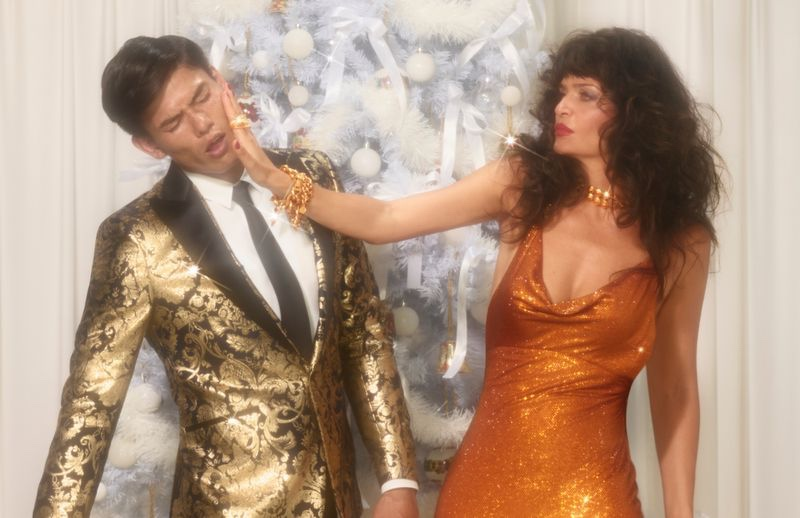 Helena Christensen slaps Simonas Pham in Versace Holiday 2019 campaign