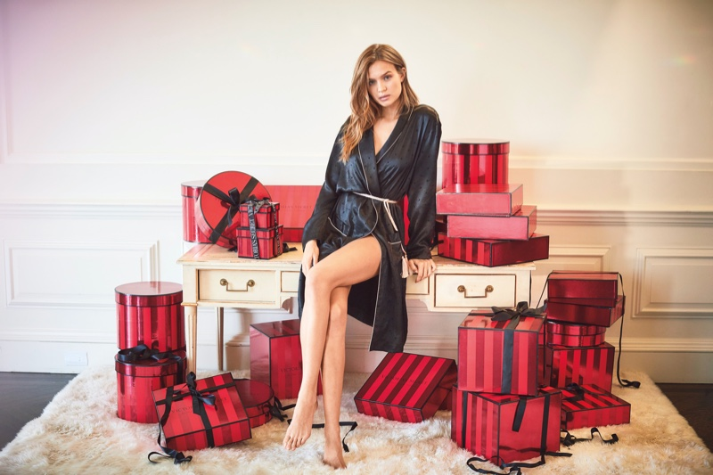 Josephine Skriver wears a robe for Victoria's Secret Holiday 2019 campaign