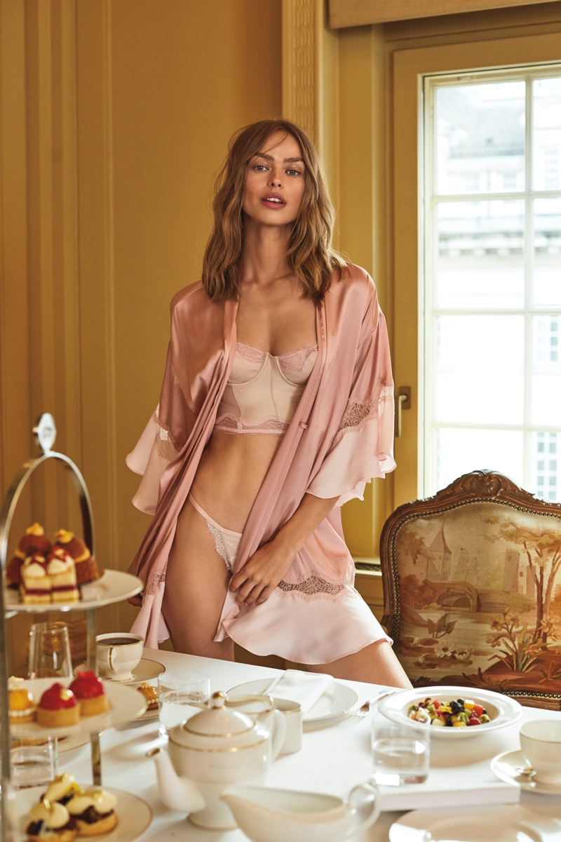 Birgit Kos looks pretty in pink for Victoria's Secret holiday 2019 campaign