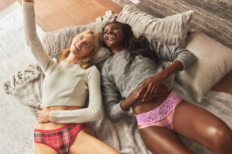 Martha Hunt and Leomie Anderson take a selfie in Victoria's Secret Holiday 2019 campaign