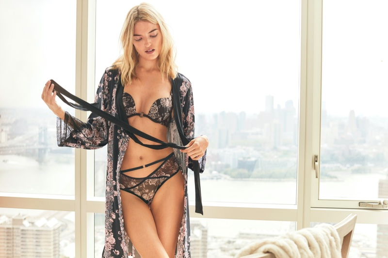 Martha Hunt models lingerie for Victoria's Secret Holiday 2019 campaign