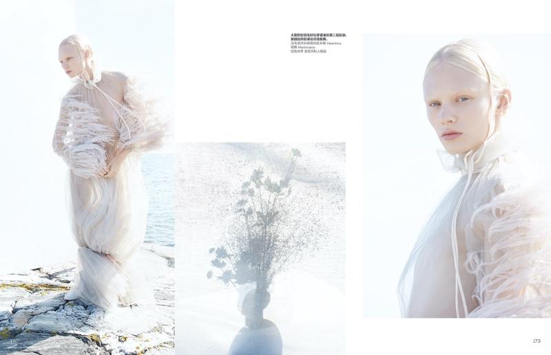 Vilma Sjöberg Embraces Ultra-Romantic Looks for Vogue China