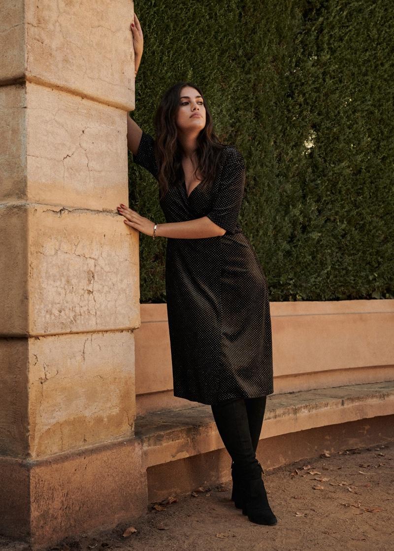 Dressed in black, Lorena Duran fronts Violeta by Mango party 2019 editorial