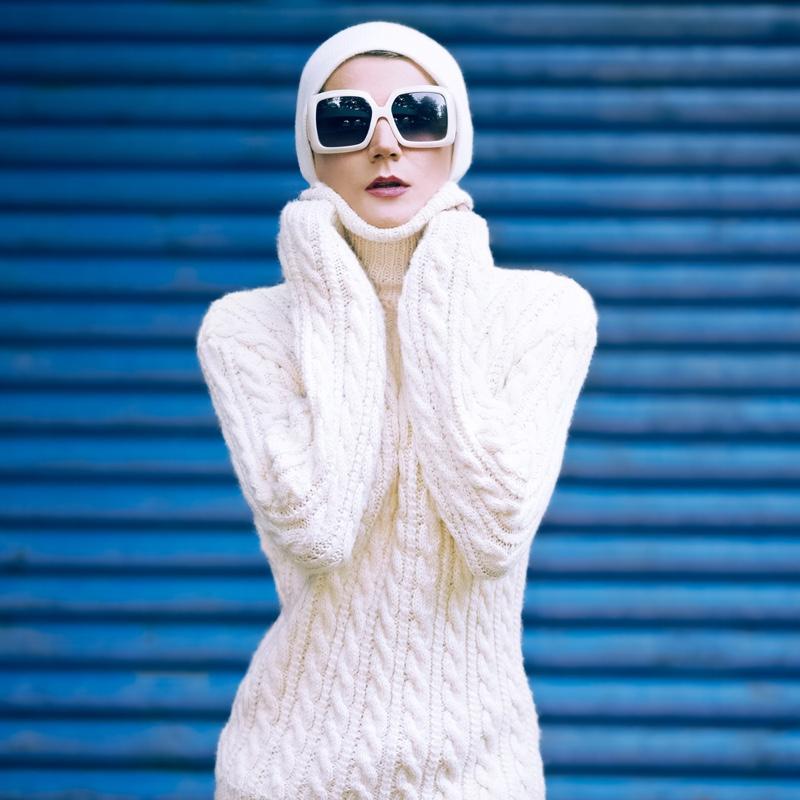 Winter Fashion Sweater Sunglasses Model