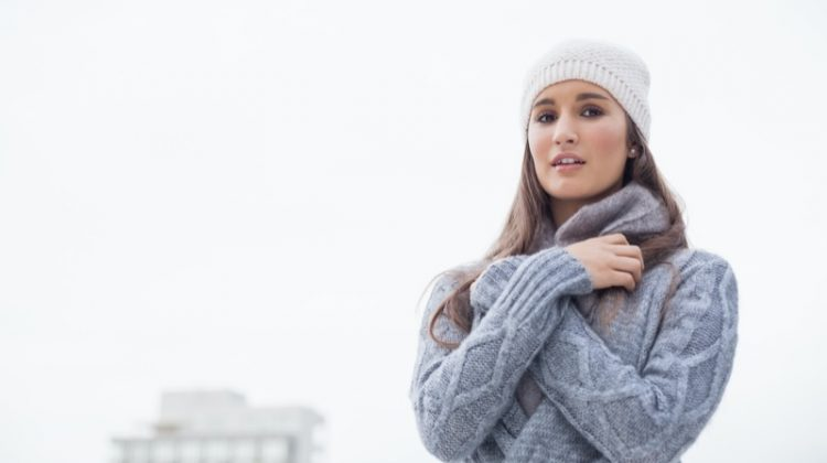 Woman Beanie Sweater Outdoors Winter