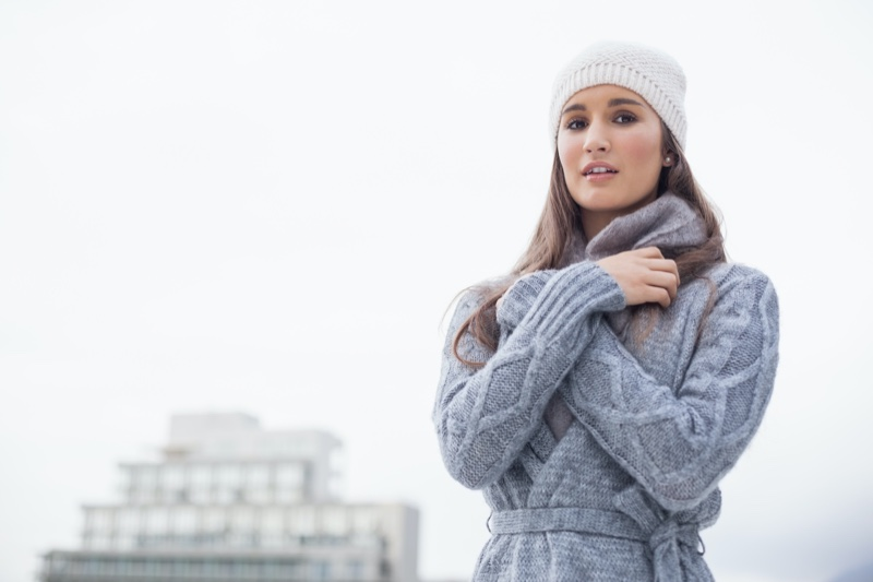Woman Beanie Sweater Outdoors Winter