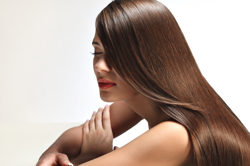 Woman Brown Shiny Healthy Long Hair Beauty