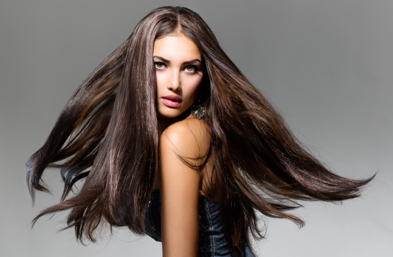 Woman Long Brown Hair Extensions Beauty