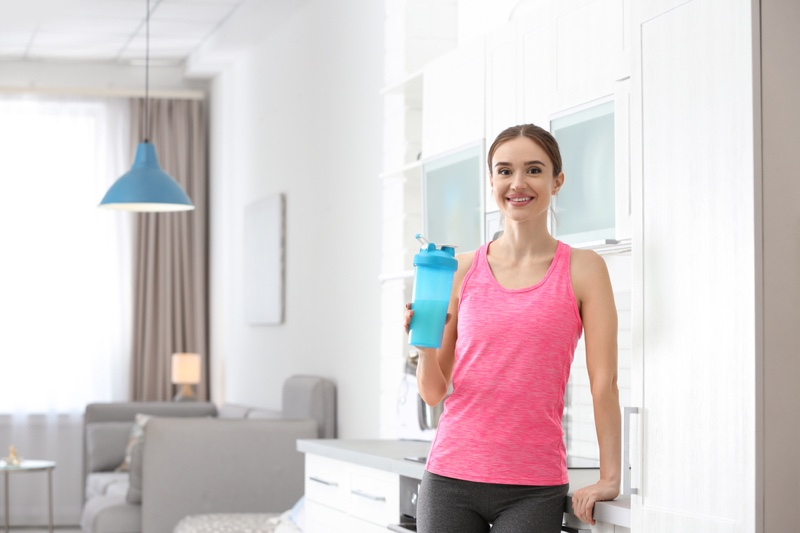 Woman Protein Shake Smiling Workout Clothes