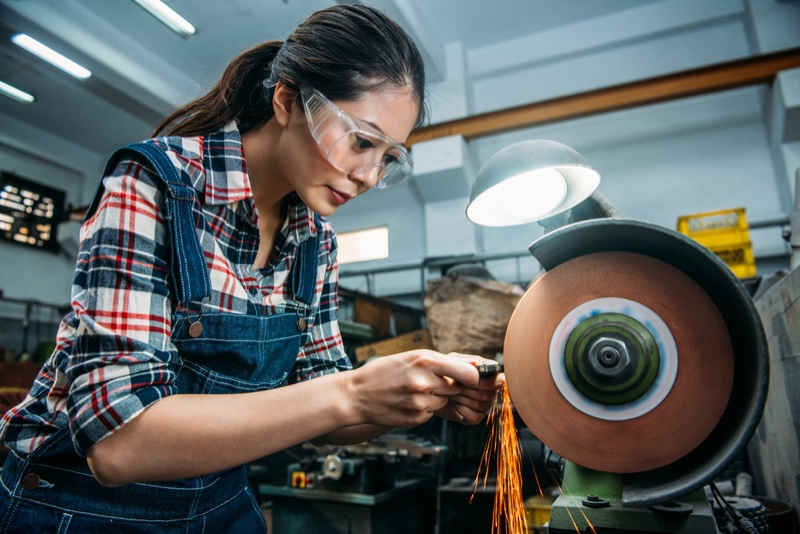 Woman Using Grinder Asian Overalls Plaid