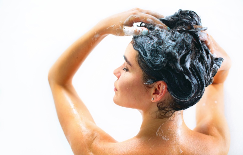 Woman Washing Hair Suds Shower