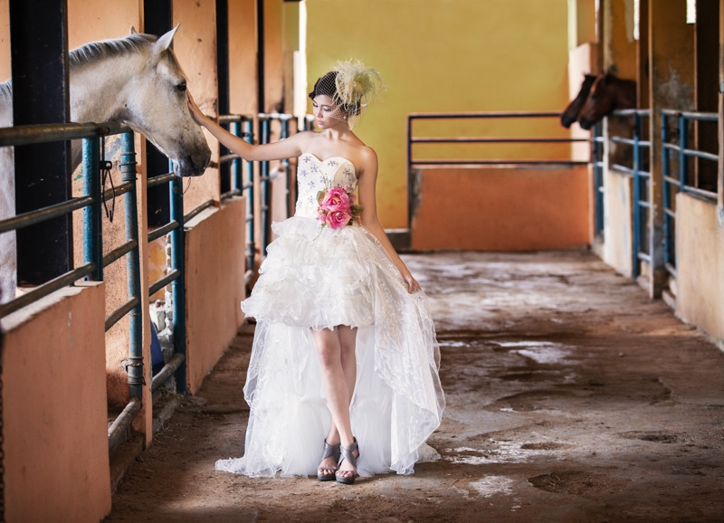 Woman White Dress Horses Wedding Stables