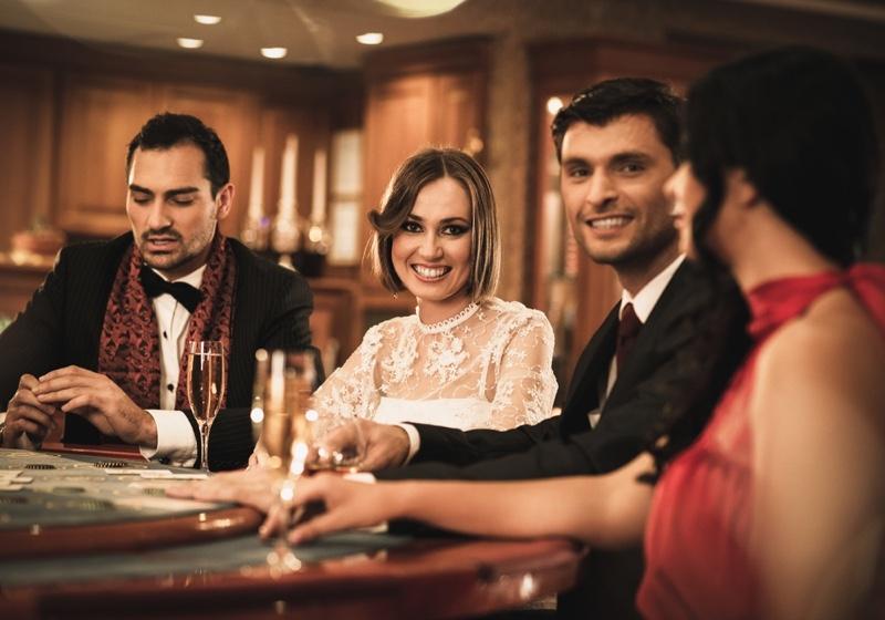 Women Men Casino Smiling Cocktail Formal Fashion