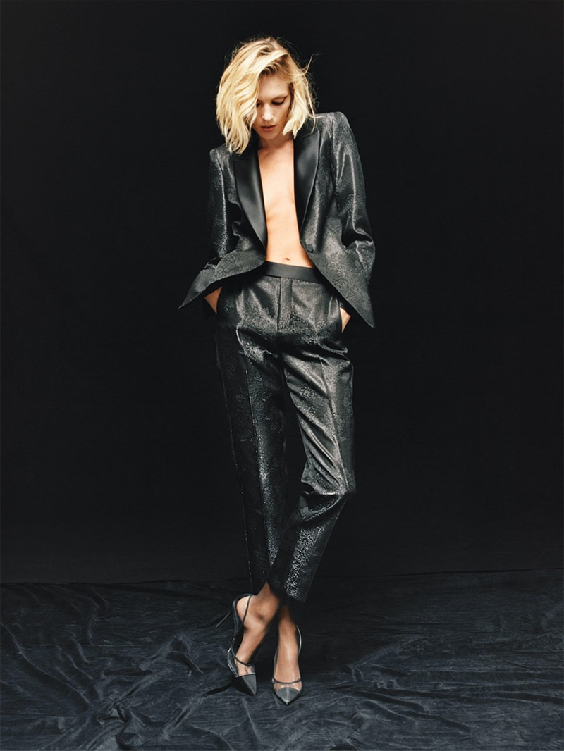 Anja Rubik suits up in Zara's tuxedo jacket and pants