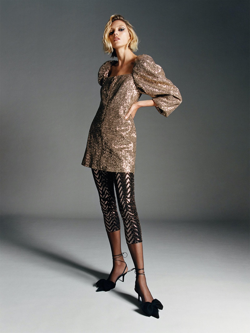 Anja Rubik models Zara zippered sequin dress, sparkly leggings and blue collection tied leather slingbacks